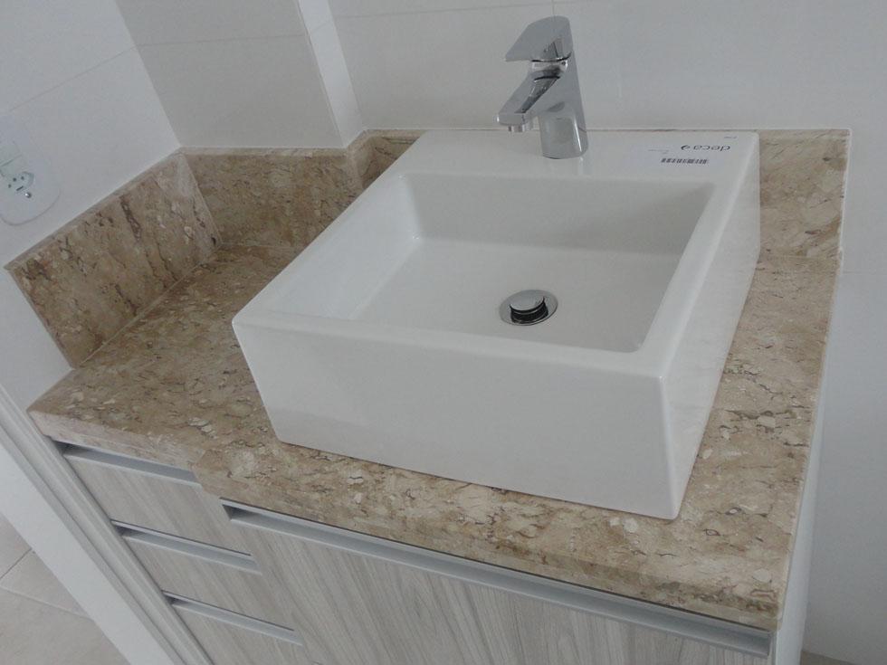 Pedra Forte  Banheiro em Mármore Travertino -> Cuba Banheiro Travertino